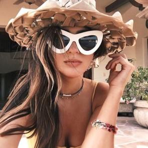 Women's Horn Rimmed Frame Oversize Cat Eye Sunglasses