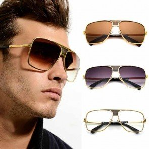 Gradient Tint Metal Alloy Frame Men Aviator Sunglasses