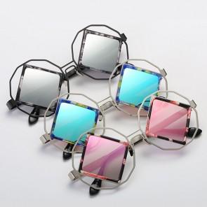 Vintage circle outline rhombus lens punk sunglasses