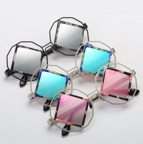 Vintage circle outline rhombus lens punk sunglasses