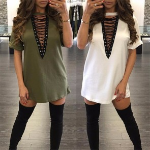 Womens Round Neck Long Tunic Top Dress Shirt