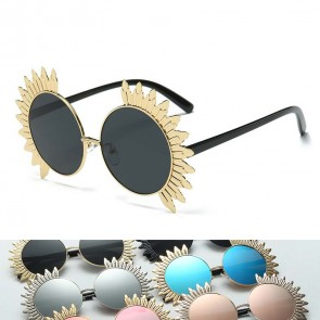 Round lens bird wings rim oversized party sunglasses