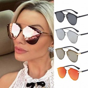 Modern metallic frame mirrored lens aviator sunglasses