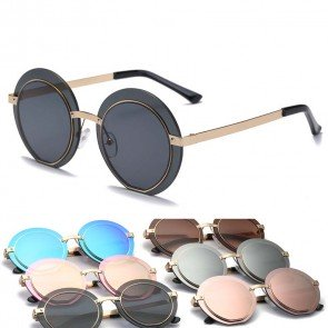 Metal arm laser cut round flat lens punk sunglasses