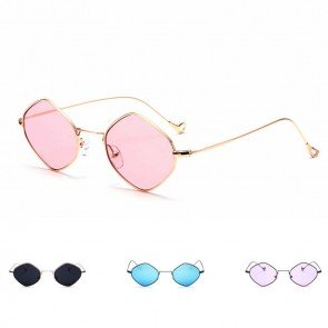 Rhombus Metal Framed Sunglasses Retro Small Size Lens