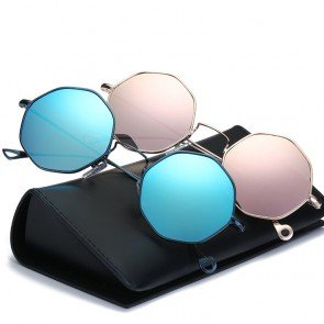 Vintage octagon flat lens small size metal sunglasses