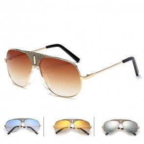 Large tear drop aviator sunglasses patterned nose bridge