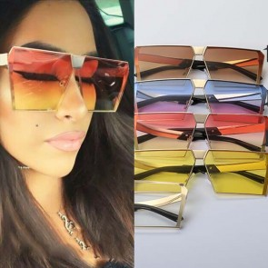 Modern Square Sunglasses Block Frames Mirrored Lenses