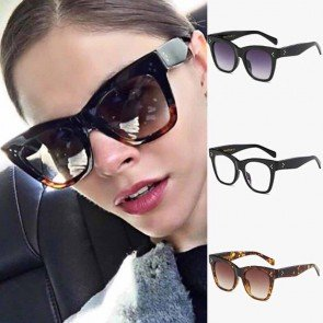 Rectangle Sunglasses Vintage Big Frame Rivet Shades