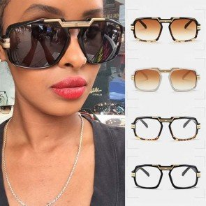 Oversize bold aviator sunglasses gold tone nose bridge
