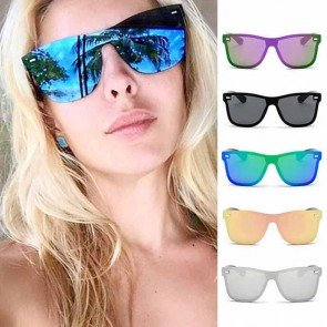 Blade Mirrored Sunglasses Rimless One Piece Lens