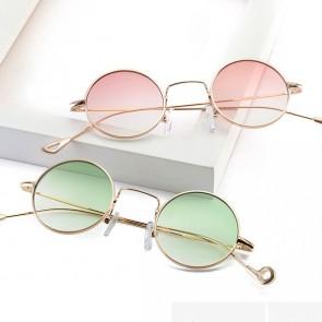 Round retro indie flat transparent fade lens sunglasses