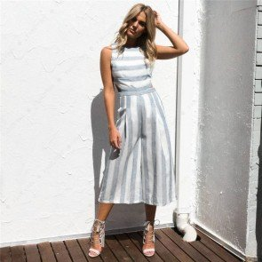 Sleeveless Playsuit Wide Leg Striped Jumpsuit Long Romper