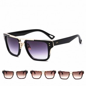 Flat top modern gradient tinted oversize sunglasses