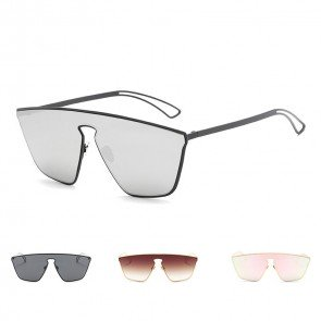 Oversize tear drop shield lens metal aviator sunglasses