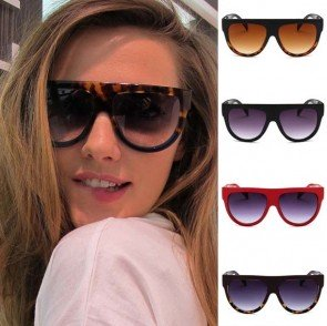 Flat Top Circle Bottom Bold Frame Two Tones Sunglasses