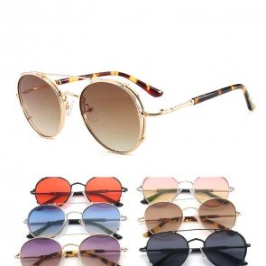 Stylish flat top wire bar aviators flat lens sunglasses
