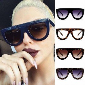 Chic Round Bottom Sunglasses Flat Top Thick Frame