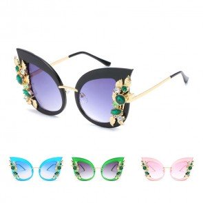 Vintage oversize circle lens crystal cat eye sunglasses