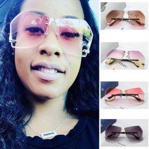 Large Modern Aviators Gradient Faceted Lens Sunglasses
