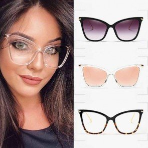 Ladies oversize colorful lens metal cat eye sunglasses
