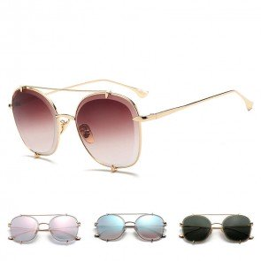 Fashion aviators double bridges metal frame sunglasses