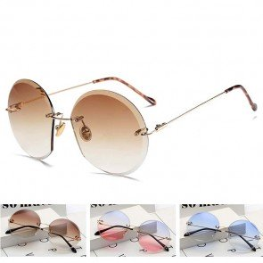 Fruit candy colored oversize round rimless sunglasses