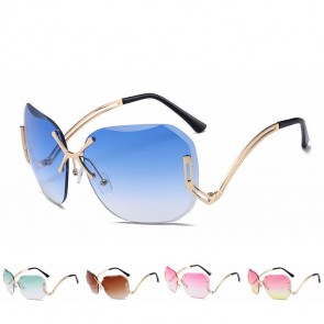 Rimless Faceted Gradient Shades Butterfly Sunglasses
