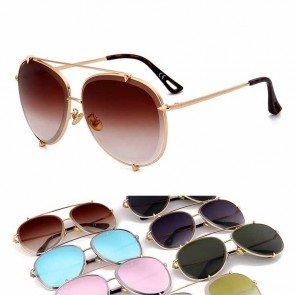 Flat top bar wolf paws luxury metal aviator sunglasses