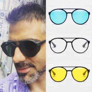 5d09927be4 Round oversize bold rim side shield punk sunglasses