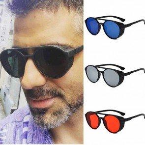Round oversize bold rim side shield punk sunglasses