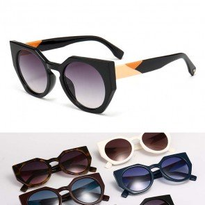 Celebrity retro acetate cat eyes tips round sunglasses