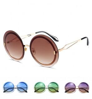 Stunning chic round frame oversize rimless sunglasses