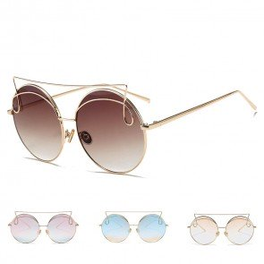 Geometric brow see-through tint round metal sunglasses