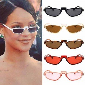 Candy colored flat lens cat eye sunglasses pointed rim