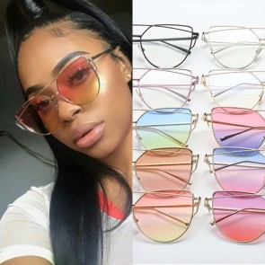 Cat eye metal cross bar frame shades candy flat lens