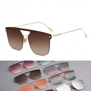 Modern Translucent Coating Flat Lens Aviator Sunglasses