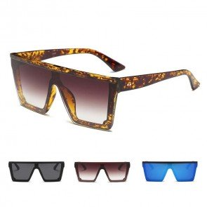 One piece lens flat top cool square rimmed sunglasses