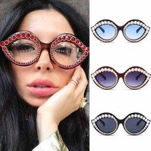 Girls Oversize Full Rim Rhinestone Cat Eye Sunglasses