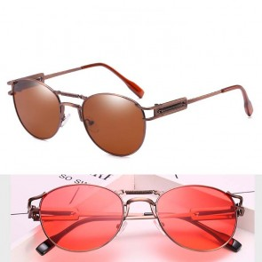 Retro circle lens bronze frame steam punk sunglasses