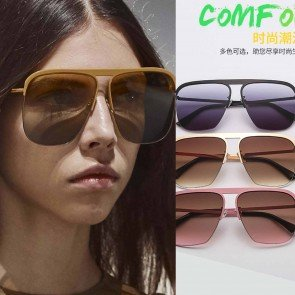 Stylish looking Square Sunglasses Flat Top Metal Frame