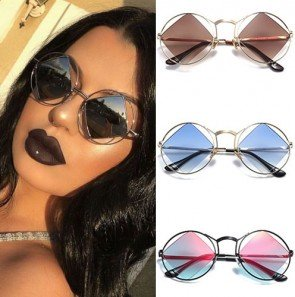 Metal frame candy colored rhombus lens round shades