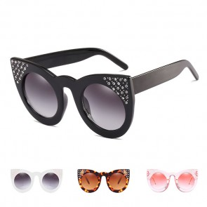 Bling Rhinestone Cat Eye Sunglasses Gradient Flat Lens