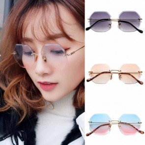 Gold Tone Temple Rimless Lens Octagon Sunglasses Shades