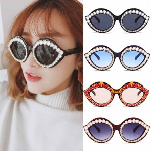 Girls Oversize Full Rim Rhinestone Cat Eye Sunglasses