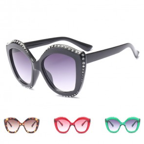 Oversized Rhinestones Cat Ear Sunglasses for Women