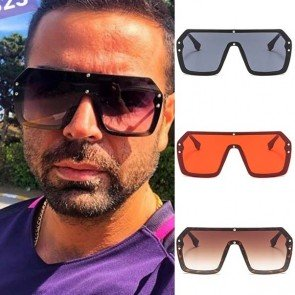 Oversized Square Sunglasses One Piece Flat Top Shades