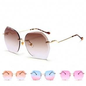 Fashionable rimless faceted lens oversized sunglasses