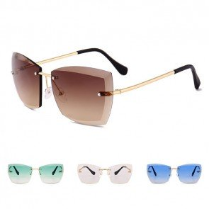 Rectangle Sunglasses Faceted Rimless Gradient Tint Lens