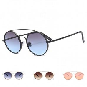 Modern round flat lens big sunglasses w/ double bridges